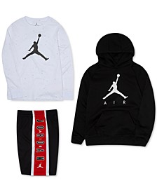 Big Boys Jumpman Fleece Hoodie, Logo-Print T-Shirt & Colorblocked Shorts