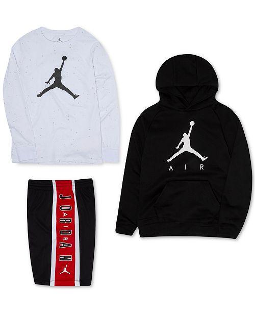 Jordan Big Boys Jumpman Fleece Hoodie, Logo-Print T-Shirt & Colorblocked Shorts