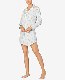 Lauren Ralph Lauren Cotton Printed Button-Front Sleepshirt