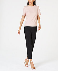 Anne Klein Crepe Blouse & Slim-Fit Pants