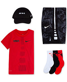 Nike Little Boys Mesh Cap, Dri-FIT Graphic-Print T-Shirt, Printed Shorts & Crew Socks