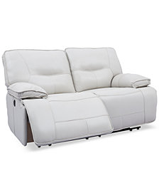"Mantella 67"" Power Reclining Leather Loveseat"