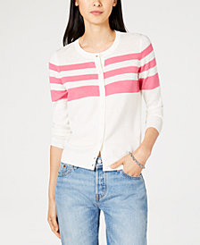 Maison Jules Partial-Stripe Cardigan Sweater, Created for Macy's