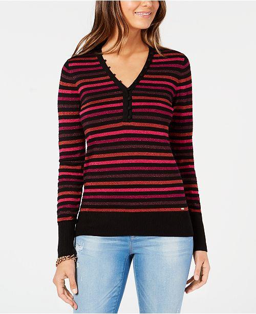 cb5bbeb32c3f9 ... Tommy Hilfiger Striped Metallic-Knit Sweater