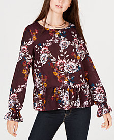 BCX Juniors' Floral Peplum Top