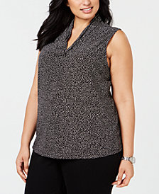 Anne Klein Plus Size Dot-Print Top