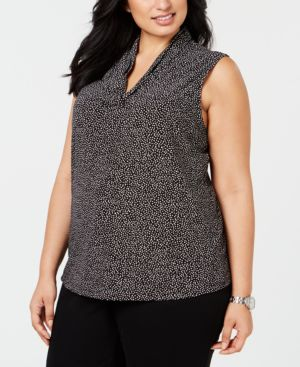 Image of Anne Klein Plus Size Dot-Print Top