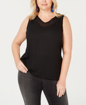 I.n.c. Plus Size Sheer-Trim Tank, Created for Macy's - Deep Black
