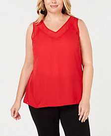 I.N.C. Plus Size Sheer-Trim Tank, Created for Macy's
