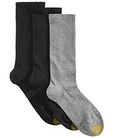 Gold Toe 3-Pk. Women's Non-Binding Flat-Knit Crew Socks