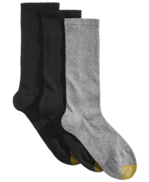 Image of Gold Toe 3 Pack Women's Non-Binding Flat-Knit Crew Socks