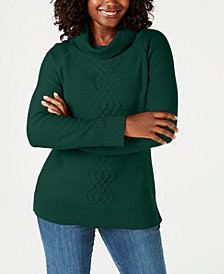 Karen Scott Cotton Funnel-Neck Sweater, Created for Macy's