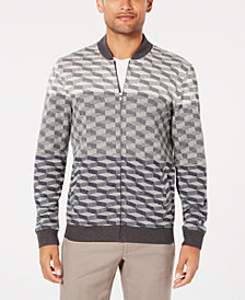 Alfani Men's Ombré Geometric Jacquard Knit Bomber Jacket, Created for Macy's