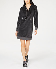 MICHAEL Michael Kors Lace-Up Velour Dress