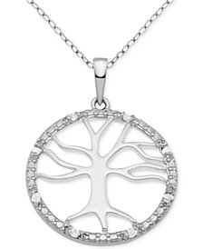 "Diamond Tree of Life 18"" Pendant Necklace (1/10 ct. t.w.) in Sterling Silver"