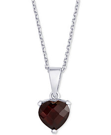 "Rhodolite Garnet Heart 18"" Necklace (1-3/4 ct. t.w.) in Sterling Silver"