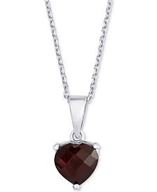 """Rhodolite Garnet Heart 18"""" Necklace (1-3/4 ct. t.w.) in Sterling Silver"""