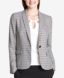 Tommy Hilfiger Houndstooth-Print One-Button Jacket