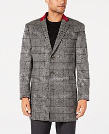 Tallia Men's Slim-Fit Black/White Plaid Overcoat with Velvet Trim
