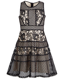 Us Angles Big Girls Mixed Lace Dress
