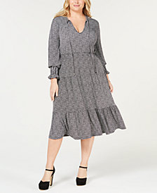 MICHAEL Michael Kors Plus Size Check-Print Tie-Neck Dress