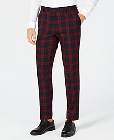 I.N.C. Men's Slim-Fit Stretch Tartan Suit Pants, Created for Macy's