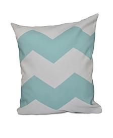 16 Inch Aqua Decorative Chevron Throw Pillow