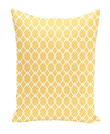 16 Inch Yellow Decorative Diamond Print Throw Pillow