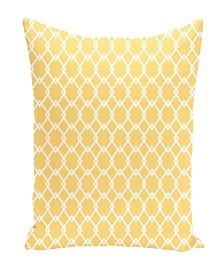 16 Inch Yellow Decorative Diamond Print Throw Pillow