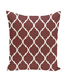 16 Inch Rust Decorative Trellis Print Throw Pillow