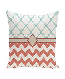 16 Inch Coral and Aqua Decorative Chevron and Trellis Print Throw Pillow