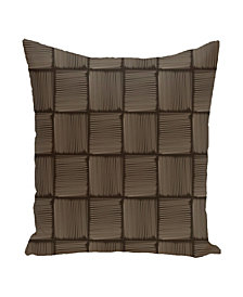 16 Inch Brown and Taupe Decorative Squares Throw Pillow
