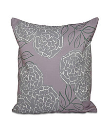 16 Inch Light Purple and Gray Decorative Floral Throw Pillow