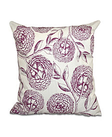 Antique Flowers 16 Inch Purple and Light Purple Decorative Floral Throw Pillow