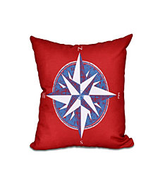 Compass 16 Inch Red and Blue Decorative Nautical Throw Pillow