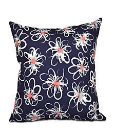 Penelope Floral 16 Inch Navy Blue and Orange Decorative Geometric Throw Pillow
