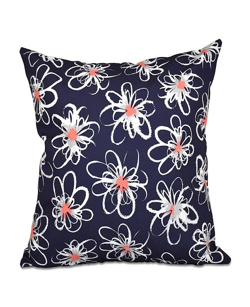 E by Design Penelope Floral 16 Inch Navy Blue and Orange Decorative Geometric Throw Pillow