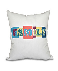 Family Fun 16 Inch Coral Decorative Word Print Throw Pillow