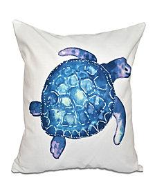 Sea Turtle 16 Inch White Decorative Coastal Throw Pillow