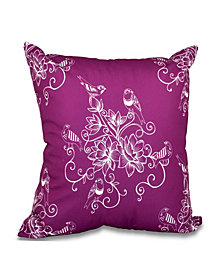 Morning Birds 16 Inch Purple Decorative Floral Throw Pillow