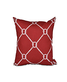 Ahoy! 16 Inch Red Decorative Nautical Throw Pillow