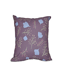 Spring Blooms 16 Inch Purple and Light Blue Decorative Floral Throw Pillow