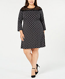 MICHAEL Michael Kors Plus Size Foulard-Print & Lace Dress