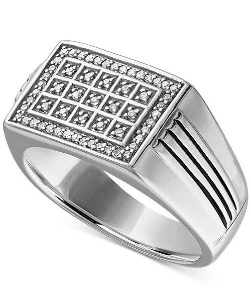 f5eeb9afd045f9 t.w.) in Sterling Silver; Macy's Men's Diamond Statement Ring (1/4 ct.
