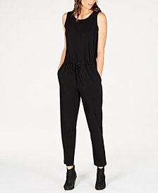 Eileen Fisher Sleeveless Drawstring-Waist Jumpsuit, Regular & Petite