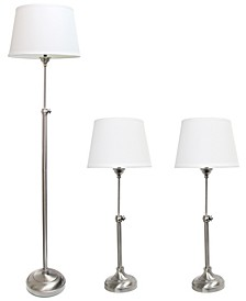 Elegant Designs Brushed Nickel Adjustable 3 Pack Lamp Set (2 Table Lamps, 1 Floor Lamp)