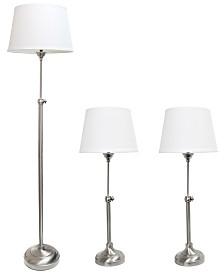 Elegant Designs Brushed Nickel Adjustable 3 Pack Lamp Set (2 Table Lamps, 1 Floor Lamp)