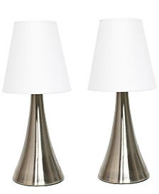 Simple Designs Valencia 2  Pack Mini Touch Table Lamp Set with Fabric Shades