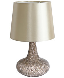 Simple Designs Mosaic Tiled Glass Genie Table Lamp with Fabric Shade
