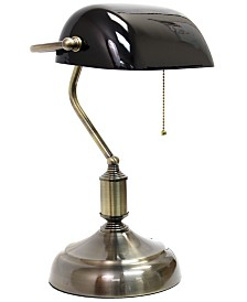 Simple Designs Executive Banker's Desk Lamp with Glass Shade